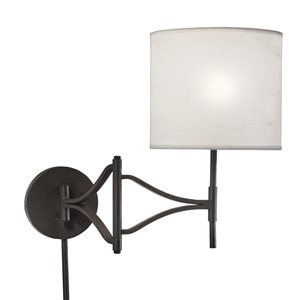 Westwood Collection 14-in H Olde Bronze Swing-Arm Wall-Mounted Lamp with Paper Shade