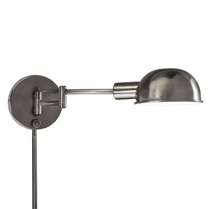 Westwood Collection 5.125-in H Antique Pewter Swing-Arm Wall-Mounted Lamp with Metal Shade