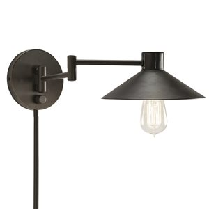 Westwood Collection 7-in H Olde Bronze Swing-Arm Wall-Mounted Lamp with Metal Shade
