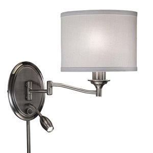 Westwood Collection 15.5-in H Antique Pewter Swing-Arm Wall-Mounted Lamp with Fabric Shade