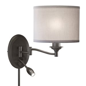 Westwood Collection 15.5-in H Olde Bronze Swing-Arm Wall-Mounted Lamp with Fabric Shade