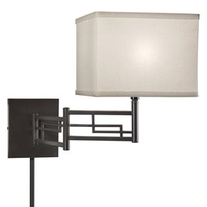 Westwood Collection 11.5-in H Olde Bronze Swing-Arm Wall-Mounted Lamp with Fabric Shade