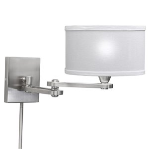 Westwood Collection 9.87-in H Chrome Swing-Arm Wall-Mounted Lamp with Fabric Shade