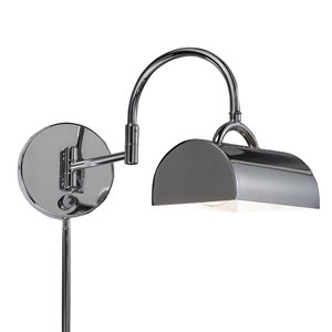 Westwood Collection 8-in H Chrome Swing-Arm Wall-Mounted Lamp with Metal Shade