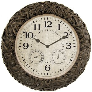 AcuRite Indoor/Outdoor Wicker Wall Clock with Thermometer