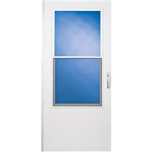 LARSON West Point White Mid-View Tempered Glass Standard Half Screen Storm Door (Common: 34-in x 81-in; Actual: 33.75-in x 79.875-in)