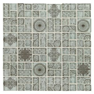 American Olean Loren Place 12-in x 12-in Nirvana Print Glass Random Mosaic Wall Tile