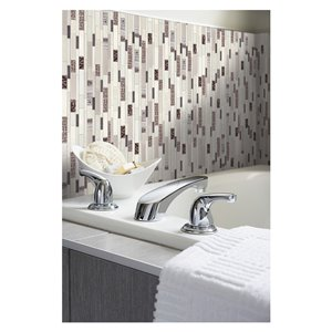American Olean Loren Place 12-in x 15-in Pearl White Porcelain Random Mosaic Wall Tile