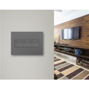Legrand adorne 3-Gang Square Wall Plate (Magnesium)