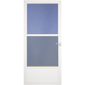 LARSON 34-in Southport White Mid-View Tempered Glass Half Screen Storm Door