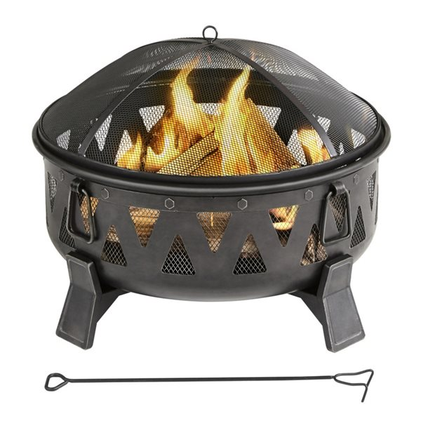 Style Selections Wood Burning Round Fire Pit 30 In Antique Black Steel Lowe S Canada