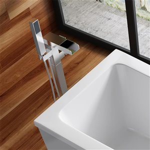 OVE Decors Infinity Chrome 1-Handle Freestanding Bathtub Faucet with Hand Shower (Valve Included)
