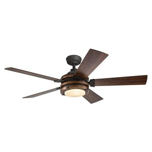 Kichler Barrington 52-in Distressed Black and Wood 5-Blade Downrod Mount Ceiling Fan with Light Kit