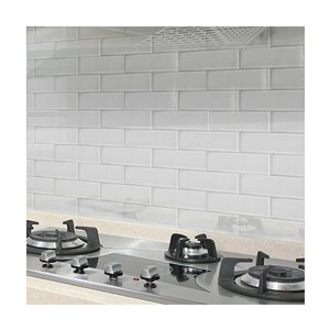 Bestview White/Glossy Glass Wall Subway Tile (Common: 12-in x 4-in; Actual: 11.81-in x 3.94-in)