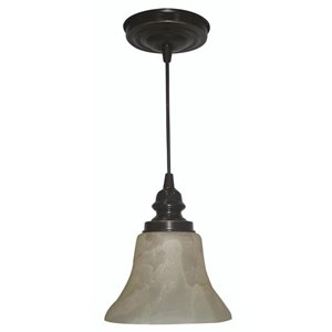 Portfolio 7-in W Highlighted Gold Bronze Standard Mini Pendant Light with Tinted Shade