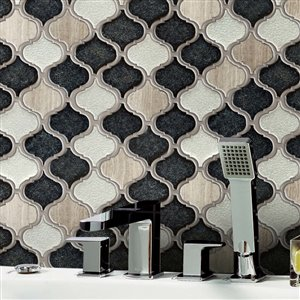 Bestview Galena Grey Lantern 12-in x 12-in Stone and Glass Mosaic Wall Tile 10-Pack