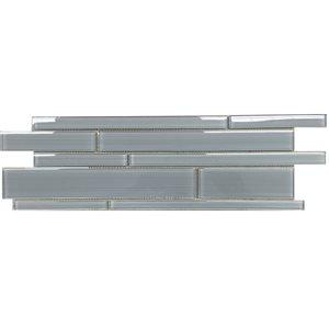Bestview Ice Denim 6-in x 18-in Glass Linear Mosaic Wall Tile