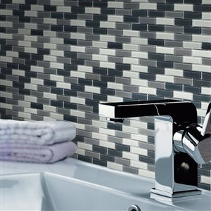 Bestview White and Grey 12-in x 12-in Glass Mosaic Wall Tile