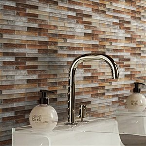 Bestview Grey Umber 12-in x 12-in Glass Linear Mosaic Wall Tile