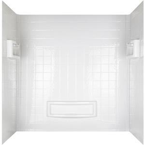 Mirolin 31-in x 60-in White Acrylic Shower Wall Surround Side and Back Walls