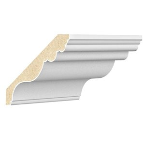 Metrie 0.75-in x 5.25-in x 8-ft Traditional Primed MDF Crown Moulding (Pattern CFC1W1PMD)