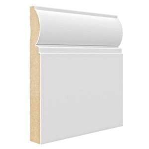 3/4 x 7-1/4 x 8-ft Primed MDF Baseboard Moulding