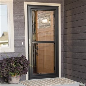 LARSON 34-in x 81-in White Tradewinds Full-View Tempered Glass Storm Door