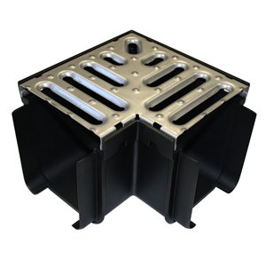 4-in Dia x 7-in L.  SS Grate Corner Irrigation Channel