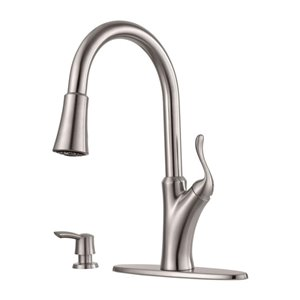 Pfister Eagan Stainless Steel One-Handle Pull-Down Kitchen Faucet with Soap Dispenser