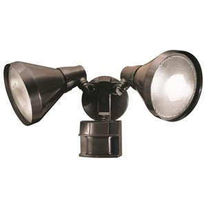 Heath Zenith 180-Degree 2-Head Bronze Halogen Motion-Activated Flood Light Timer Included