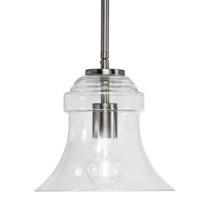 Westwood Collection 8.63-in Brushed Nickel Standard Mini Pendant Light with Clear Shade