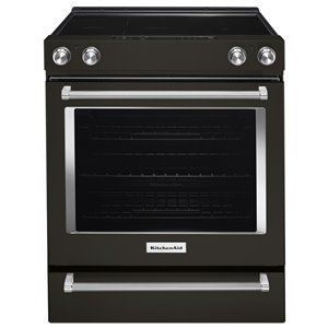 KitchenAid 30-in 6.4 cu ft Electric Range with Self-cleaning Convection Oven (Black Stainless Steel)