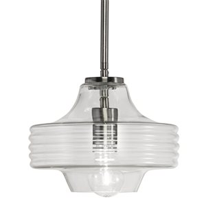 Westwood Collection 9.6-in Brushed Nickel Standard Mini Pendant Light with Clear Shade
