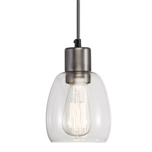 Westwood Collection 5.04-in Antique Pewter Standard Mini Pendant Light with Clear Shade