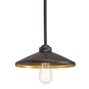 Westwood Collection 10-in Olde Bronze Standard Mini Pendant Light with Metal Shade