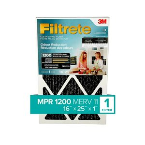 3M 25-in x 16-in x 1-in 1200 MRP Odour Reduction Electrostatic Pleated Air Filter