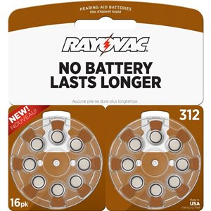 Rayovac Longest Lasting Mercury-Free 312 Hearing Aid Batteries (16-Pack)