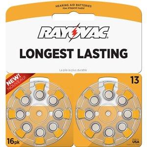 Rayovac Longest Lasting Mercury-Free 13 Hearing Aid Batteries (16-Pack)