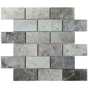 Avenzo 12-in x 12-in Valensa Gray Polished Mosaic Subway Tile