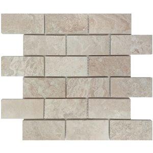 Avenzo 12-in x 12-in Navona Travertine Mosaic Subway Tile