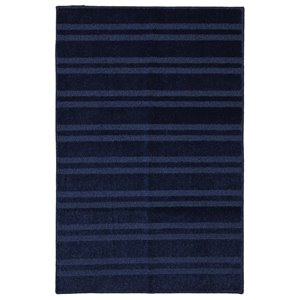 Elegant Stripe Navy Rectangular Throw Rug