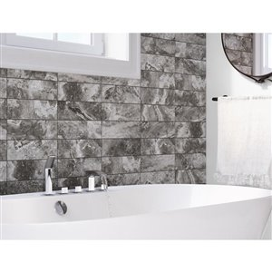 Boulder 4-in x 12-in Graphite Porcelain Wall Tile
