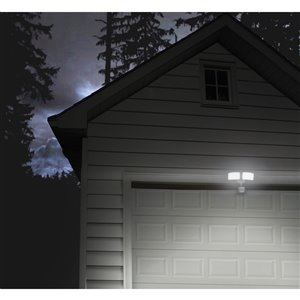 Utilitech Pro 180-Degree 2-Head White Led Motion-Activated Flood Light Timer Included
