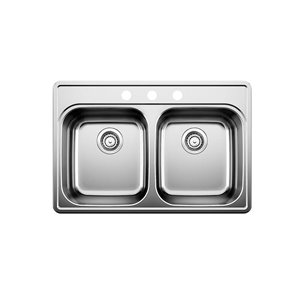 BLANCO Essential 31.3125-in x 20.875-in Brushed Stainless Steel Drop-in Kitchen Sink