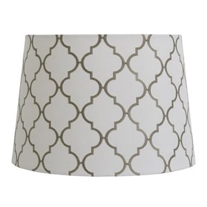 allen + roth 9-in x 13-in White with Gray Embroidery Fabric Drum Lamp Shade
