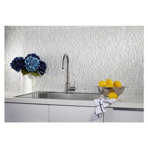 American Olean 12-in x 12-in Loren Place Glamour Stone and Glass Mosaic Wall Tile
