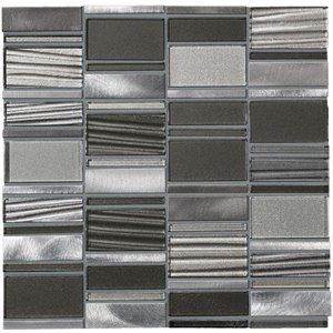 American Olean Loren Place 12-in x 12-in Eclipse Glass and Metal Random Mosaic Wall Tile