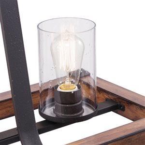 Kichler Barrington 32.01-in W 3-Light Distressed Black and Wood Standard Kitchen Island Light
