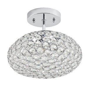 Kichler Krystal Ice 9.65-in W Chrome Crystal Crystal Semi-Flush Mount Light