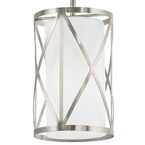 Kichler Edenbrook 6.46-in W Brushed Nickel Mini Pendant Light with Frosted Shade